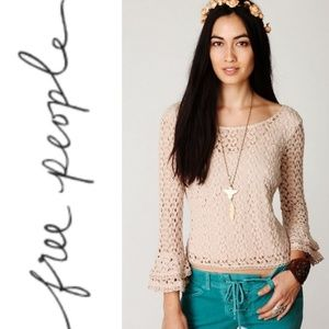 Free People   Crochet Bell Sleeve Top Size Small